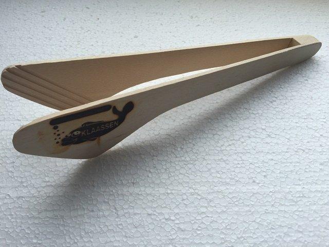 Grillzange Buche Holz 30cm mit Logo