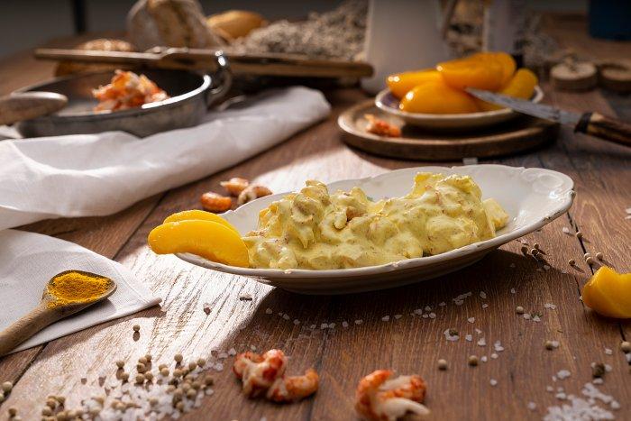Flusskrebse in Curry-Pfirsich