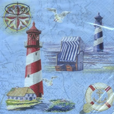 Lunch Servietten Nautical Chart & Icons