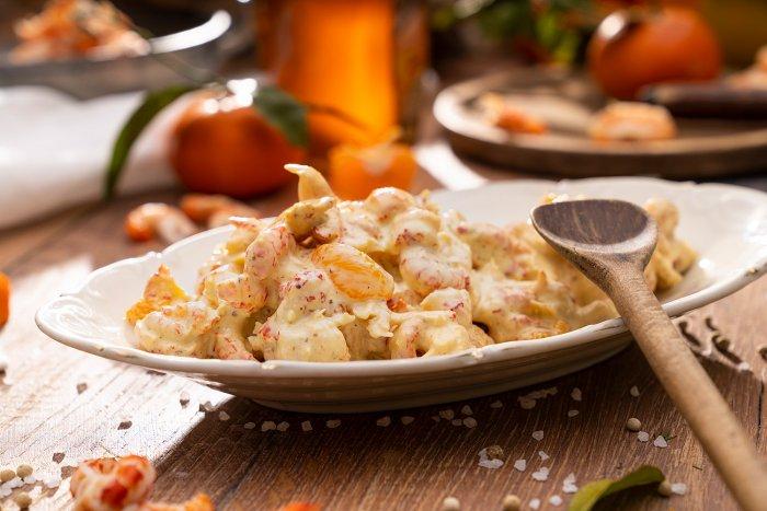 Flusskrebse in Mandarinen-Senf-Creme