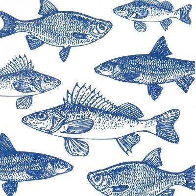 Lunch Servietten Graphic Fishes marine